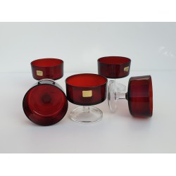 5 Vintage Luminarc Ruby Red...