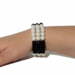 Armband elastisch zwart wit...